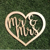 Mr & Mrs inside Love Heart - Tasmanian Oak