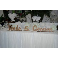Bride & Groom Table Deocoration Rustic Tasmanian Oak Vender.