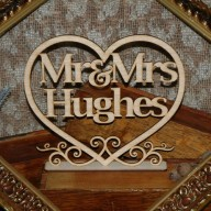 Love Heart Mr & Mrs Table Sign with surname