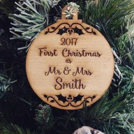 Christmas Bauble- First Christmas as Mr & Mrs Custom Surname & Year