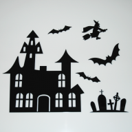 Acrylic Halloween House,Tombstone, Bat & Witch Wall Set