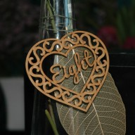 Hanging Heart Shaped Table Number with Swirly Design